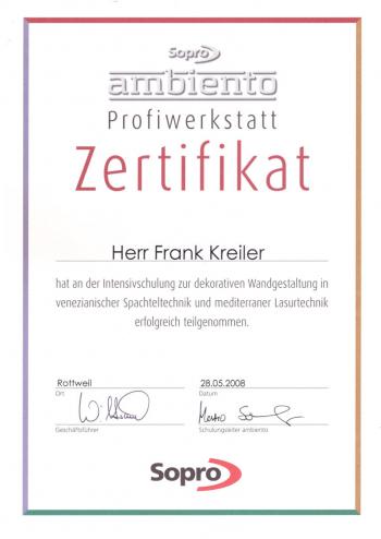 Zertifikat Frank Kreiler  - Dekorative Wandgestaltung -