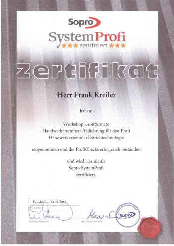 Zertifikat Frank Kreiler  - Großformat Verlegung -