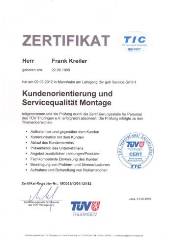 Zertifikat Frank Kreiler  - Kundenorientierung -